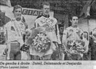 Podium d'Eric Duteil course Bordeaux-Saintes 2000 (photo Sud-Ouest)