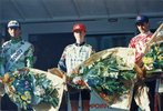 Podium d'Eric Drubay course Bordeaux-Saintes cycliste 1996