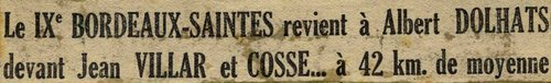 Titre journal Bordeaux-Saintes 1948
